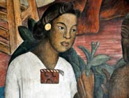 Pic 3: A young Nahua woman; detail from a mural by Diego Rivera, Palacio Nacional