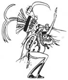 Pic 13: FUN FACT: That creature named the Mosquito: In this illustration from a Late Classic Maya vase, the mosquito wears its weapon on the front of its headdress and dribbles blood from its underside