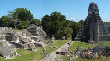 Pic 15: The North Acropolis at Tikal, featuring Temple 1. A well-attended Maya ceremony is taking place in the plaza… they're burning lots of copal incense and spiritual offerings