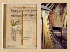 Pic 7: The Aztec feast of Ochpaniztli, as recorded in the Tovar Codex (verso leaf 151) (L); a broom stands at the centre of this reconstructed Nahua farmer's house, National Museum of Anthropology, Mexico City