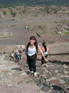 Pic 9: Stephanie Wood climbing the Pyramid of the Sun at Teotihuacan in 2005