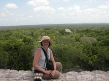 Pic 15: Claudia Brittenham sitting on top of Structure II at Calakmul in 2003 (photo by Elizabeth Terese Newman)