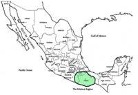 Imagen 2: La región mixteca se encuentra en lo que hoy es el Estado de Oaxaca, partes de Guerrero y Puebla en México (Tomada de: Caballero, 2013)