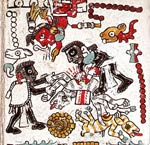 Pic 7: Sacrifice of a deer and a dog in honour of the god Thirteen Reed; Codex Nuttall, plate 49 (detail)