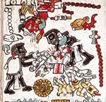 Imagen 7: Sacrificio de un venado y un perro en honor al dios 13 Caña (Códice Nuttall, 49)