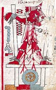 Pic 9: Sacrifice of Six House by arrowing; Codex Nuttall, plate 90 (detail)