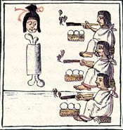 Pic 2: Cannibalism during the feast of Tlacaxipeualiztli. In the festival old men carried the body to their 'capulco' (houses) 'where they dismembered it and divided it up in order to eat it'; Florentine Codex Book II