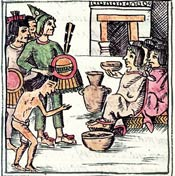 Pic 3: 'And when they had slain them [captives], then they cut them to pieces there and cooked them. They put squash blossoms with their flesh... Then the noblemen ate them... but not the common folk' Florentine Codex Book II