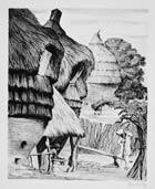 Pic 9: 1948 lithograph 'El Maíz' by Mexican artist Leopoldo Méndez, depicting huge cuezcomitl grain stores, Cuautla