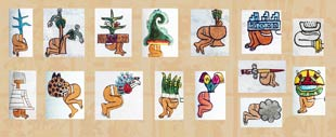 Pic 3: Examples of place glyphs in the Codex Mendoza incorporating the human bottom glyph 'tzin(tli)'