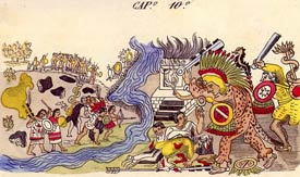 Pic 8: Two Tepanec women warriors (bottom left) join battle against the Aztecs; Códice Durán, fol. 5a