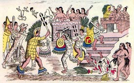 Pic 9: Tlatelolcan women expose themselves and hurl domestic 'weapons' at their Mexica enemy; Códice Durán fol. 11a