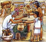 An Aztec father and daughter buy refreshment in a market; illustration by Felipe Dávalos