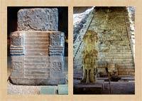 Pic 5: The 'Teocalli de la guerra sagrada', Museo Nacional de Antropología, Mexico City (L); Hieroglyphic Stairway, Copán, Honduras