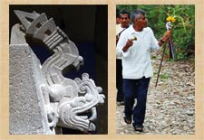 Pic 18: Stone 'xiuhcoatl', British Museum (L); modern Nahua sacred walking stick being carried on a ritual pilgrimage (R)