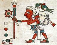 Pic 3: Yacatecuhtli-Quetzalcóatl, principal patron deity of merchants, carrying staff and fan; Tonalamatl de los Pochtecas (Codex Fejérváry-Mayer), pl. 31 (detail). Note the flower at the end of the staff