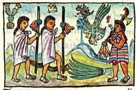 Pic 5: Mexica 'disguised merchants' entering the territory of Zinacantlan; Florentine Codex Book IX