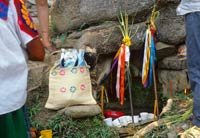 Pic 6: Nahua ritual specialists have placed sacred walking sticks associated with thunder and rain, in front of a freshwater spring inhabited by 'apanchaneh', the water dweller. Dressed paper figures of the seeds can be seen in the sisal bag