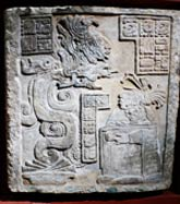 Pic 2: Blood-soaked paper is burnt and rises in the form of a Vision Serpent as a gift to (Maya) gods; Yaxchilan lintel no. 15, British Museum