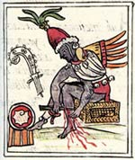 Pic 5: Quetzalcóatl does penance by piercing his leg with a cactus spine; Florentine Codex Book 3
