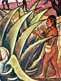 Pic 6: Giving a symbolic small gift to the gods by bloodletting was a daily duty for all the Mexica; detail from a mural by Diego Rivera, Palacio Nacional, Mexico City