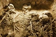 Pic 15: The skeletons of a family in an ancient sacrifice pit in China