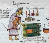 Aztec male birth symbols, Codex Mendoza fol. 57r (detail)