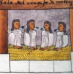 The Aztecs' 'Council of Four' in Montezuma's palace; Codex Mendoza, fol. 69r (detail)