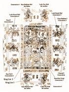 Pic 12: El sarcófago del rey Pakal de Palenque e imágenes de sus antepasados. Dibujo de M.G. Robertson, tomado de 'Una Selva de Reyes'