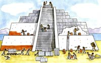 Pic 3: Artist's impression of temple-pyramid building in ancient Mexico. Illustration by Martha Newbigging
