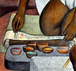 Pic 6: Various colour dyes in gourd bowls; detail from a mural by Diego Rivera
