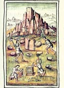 Pic 10: Aztec stone carvers quarrying and cutting stones; Florentine Codex