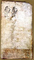 Pic 3: A 'sticky' note attached to p. XXII of the original Codex Boturini (Biblioteca Nacional de Antropología e Historia) when it was exhibited at the Egyptian Hall in London
