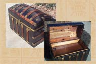 Pic 10: A mid 19th century metal and wood 'dome top' steamer trunk with hidden compartment in the lid