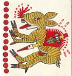 Pic 2: A speared deer - sometimes depicted in codices without antlers, possibly, according to Seler, to represent a goddess in deer form