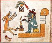 Pic 4: A (female?) deer faces rain god Tlaloc; Codex Fejérváry-Mayer, pl. 26 (detail)