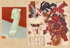 Pic 5: An onyx deer-head sceptre, Templo Mayor Museum, Mexico City (L); a deer-headed sceptre used by a deity in decapitation - Tonalamatl de Aubin pl. 19 (detail)