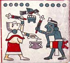 Pic 9: A woman plays an 'ayotl' and a man a hand drum; Codex Laud, pl. 34 (detail)