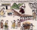 The death of a Tarascan 'cazonci' or leader; Relación de Michoacán, pl. XXXVI (detail)