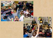 Old-style Q&A classroom sessions; (note the 35mm carousel projector!)