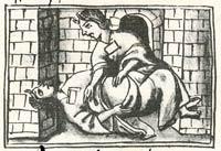 An Aztec midwife massages a pregnant woman in a sweatbath; Florentine Codex Book VI