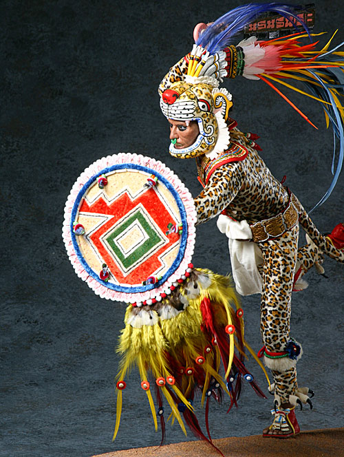 b1c8f048a Model of an Aztec Jaguar Warrior with headdress by George Stuart