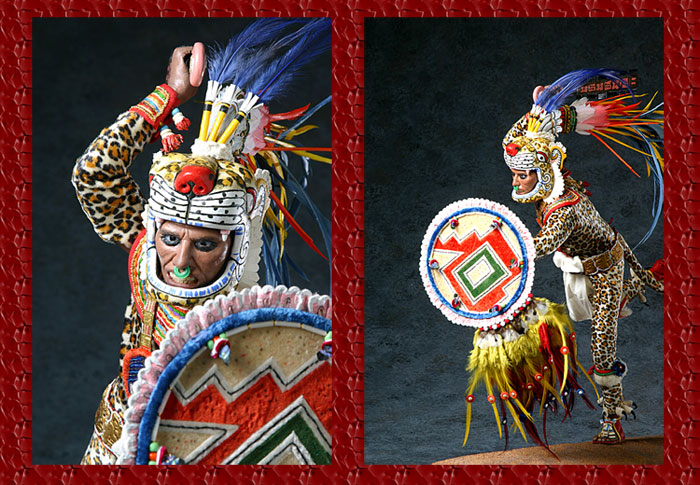 Model of Aztec jaguar warrior Aztec Warrior Face Paint