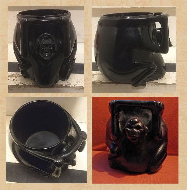 Obsidian monkey effigy jar