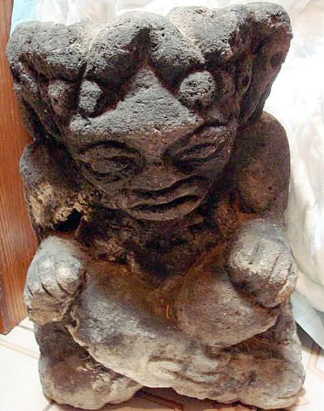 Heavy basalt statue