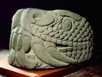 Colossal Aztec stone serpent head