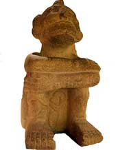 Aztec seated figure of Mictlantecuhtli in the British Museum