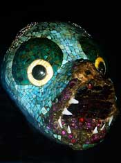 Aztec turquoise mosaic animal head in the British Museum