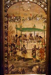 Enonchado series: Cortés dines with Moctezuma's envoys