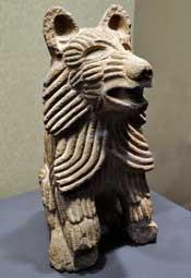 Aztec stone coyote figure